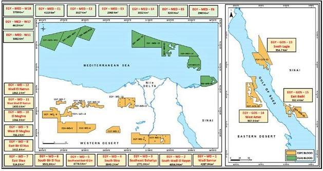1ος Χάρτης: Τα 24 οικόπεδα που προκήρυξε η Αιγυπτιακή Κρατική Πετρελαϊκή Εταιρία.