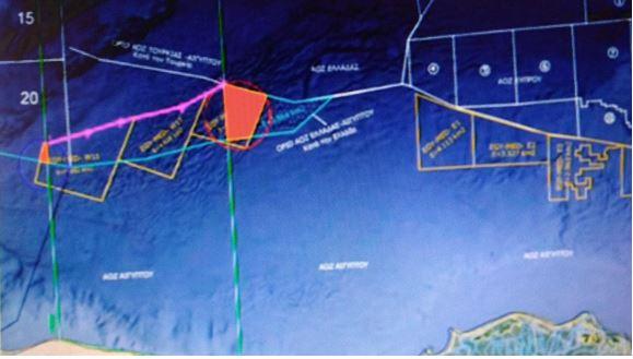 2ος Χάρτης: Τα κοκκινισμένα σημεία στα άνω 3 θαλάσσια οικόπεδα είναι αυτά με τα οποία ''υπονοεί'' το μήνυμα της η Αίγυπτος.